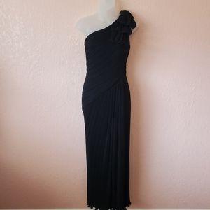 Tadashi Shoji Black Micro Pleat One Shoulder Gown